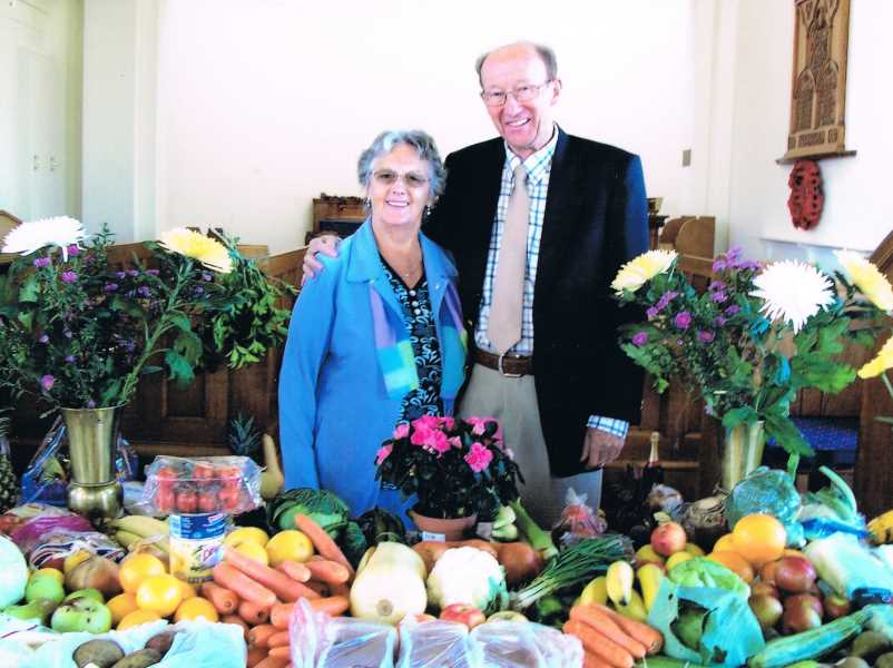 Brenda and Derek at the last Harvest Festival at Ansdell Unitarian